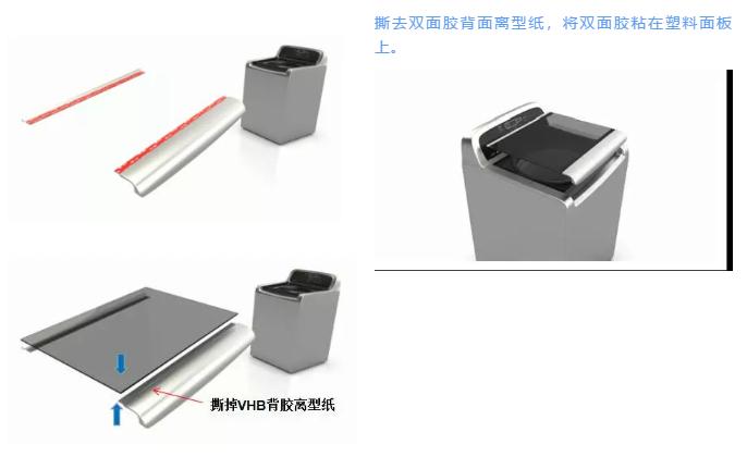 3M胶带4930双面胶在洗衣机部件粘接
